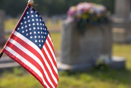 Blog photo of flag and grave for Memorial Day