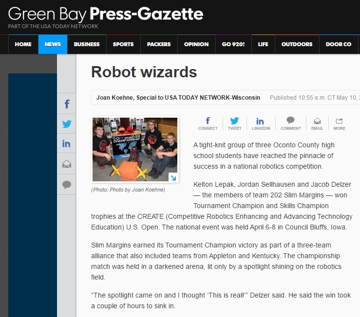 Newspaper story about robotics team from Wisconsin wins national VEX robotics competition