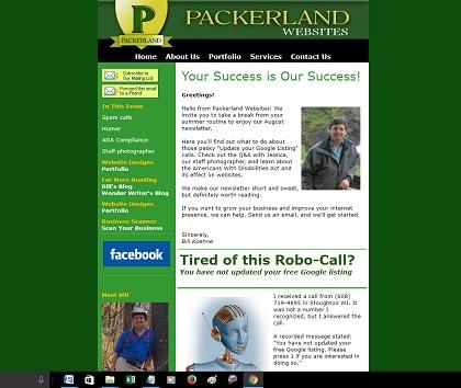 Strong Headlines in Packerland Websites newsletter