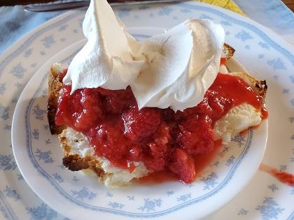 website design elements lead Joan to pick strawberries and make strawberry shortcake