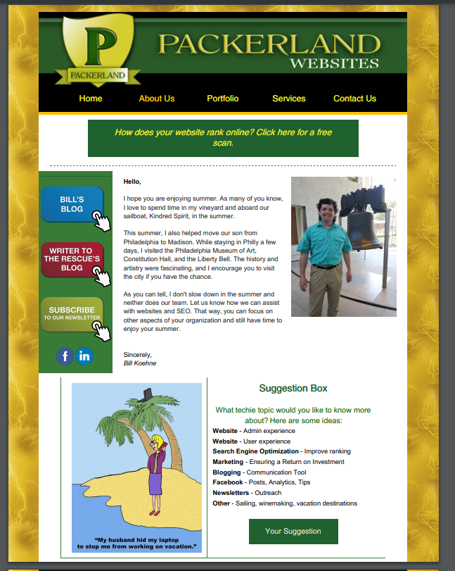 sample of newsletter personalized